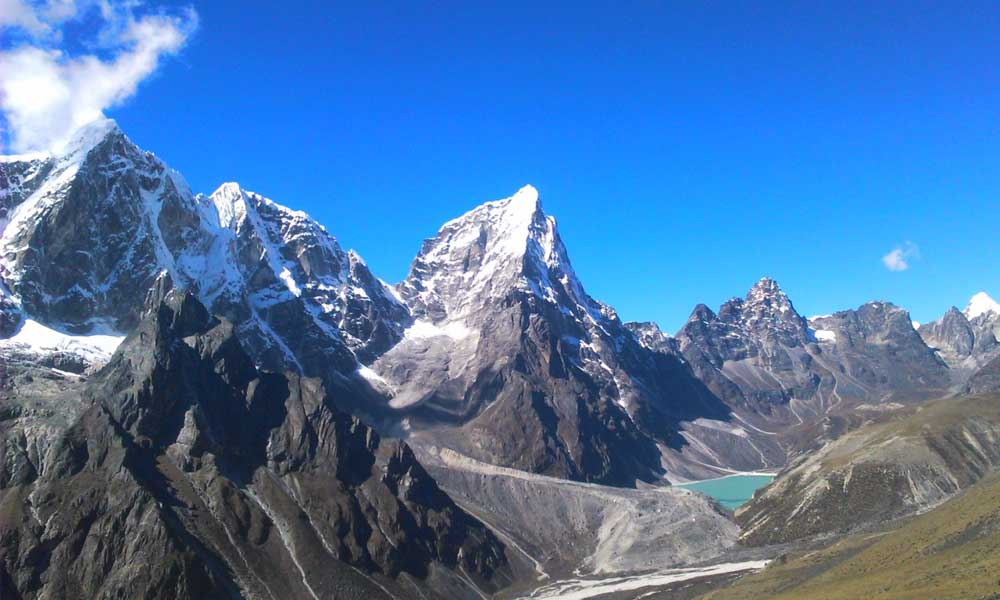 Best Nepal trek ideas - Shows the view of a mountain range and lake