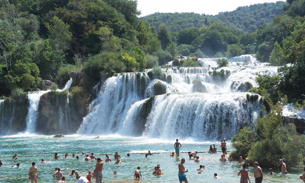 Shows the main waterfall at Krka National Park