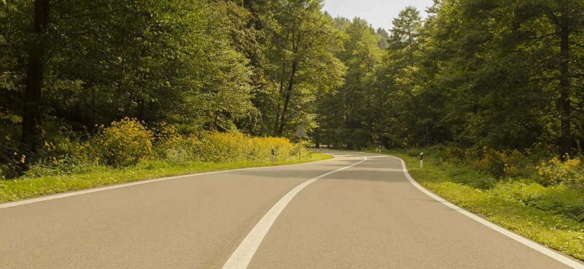 Shows a road running through Plitvice National Park forest - Croatia car hire