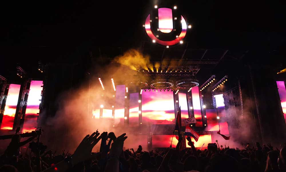 Shows the colourful lights of Ultra Europe's main stage