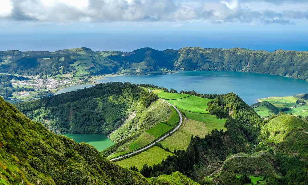 Shows the mountains of the Azores islands - October half term holiday destinations