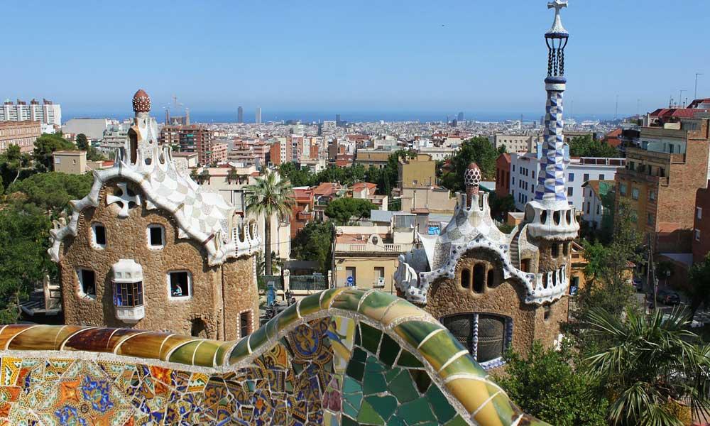 Shows the unique Gaudi architecture in Barcelona