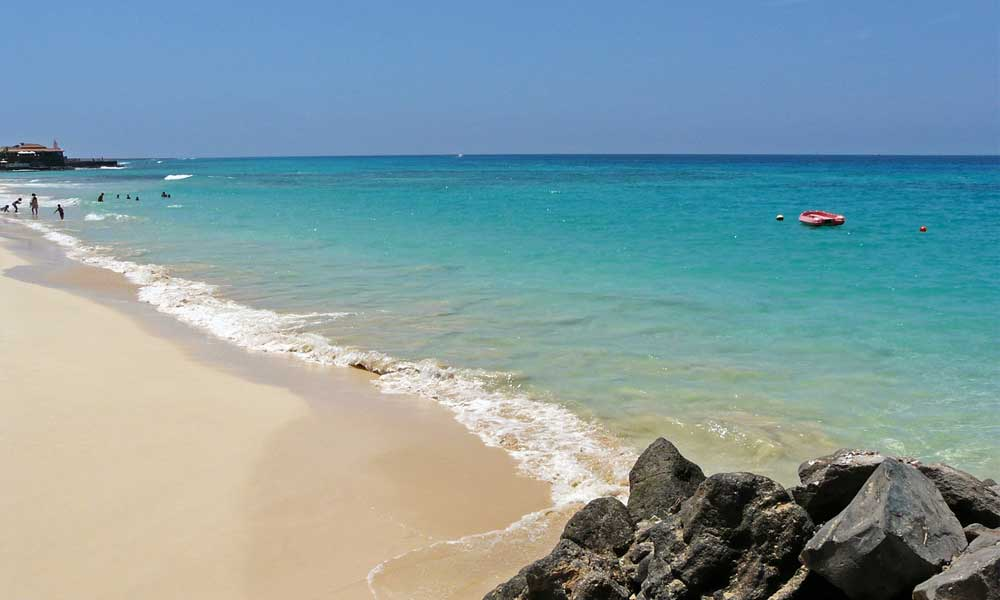 Shows a pristine beach in Cape Verde - Where to go on holiday for October half term