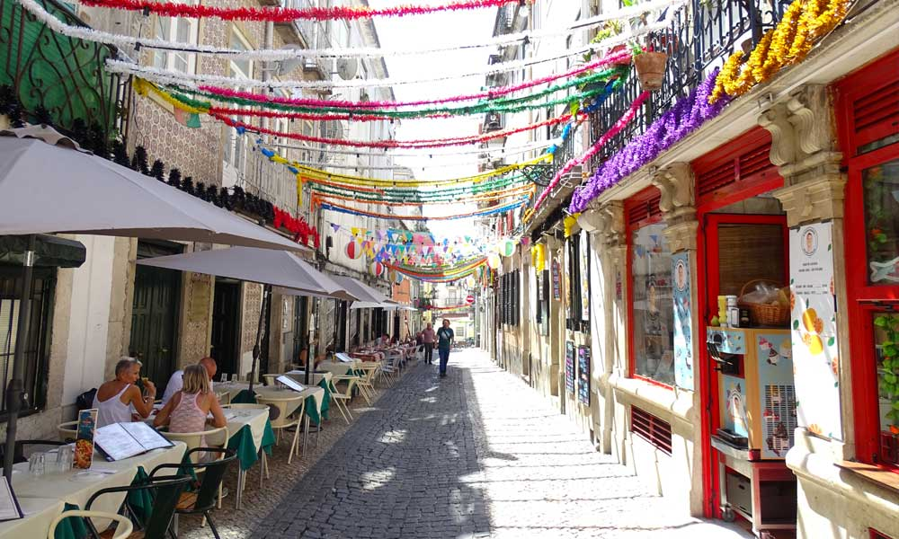 What to do in Lisbon - Shows a decorated street in Bairro Alto
