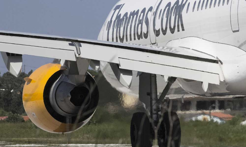 Scheduled airline failure - Shows Thomas Cook aeroplane