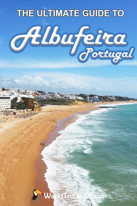 Shows Albufeira beach with waves crashing against the sand - Pinterest image