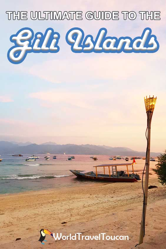 Shows Gili Trawangan beach at sunset - Pinterest image - Gili Islands travel guide