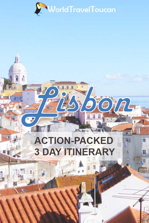 Shows the skyline of the Alfama district - Pinterest image