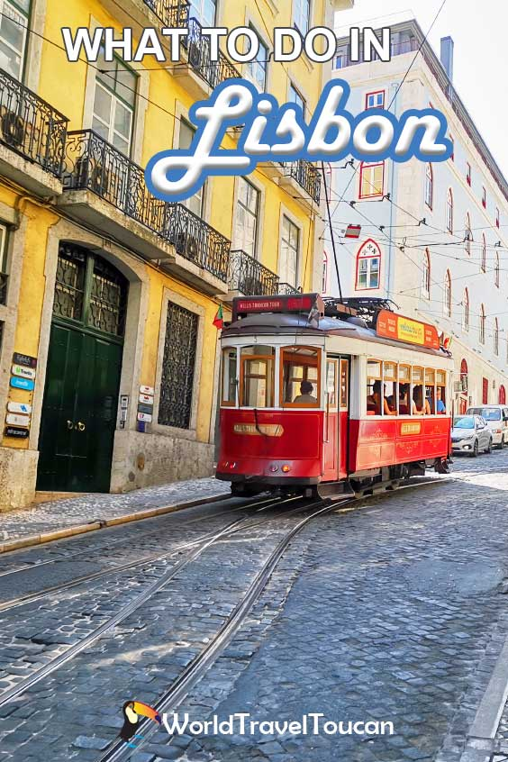 Shows a tram on the streets of Chaido, Lisbon - Pinterest banner