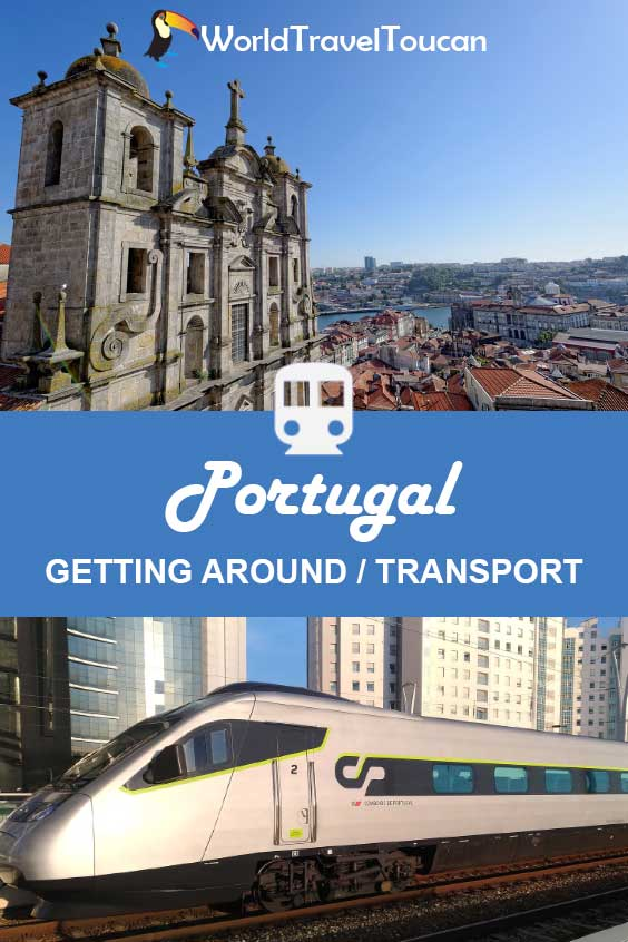 Pinterest image - Shows a Portuguese train and a city view