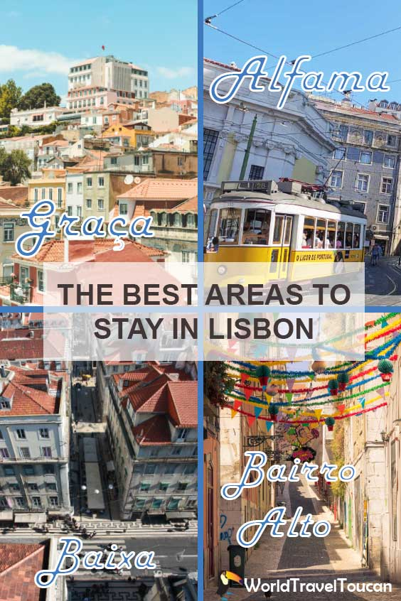 Pinterest banner - Where to stay in Lisbon - shows collage of four areas