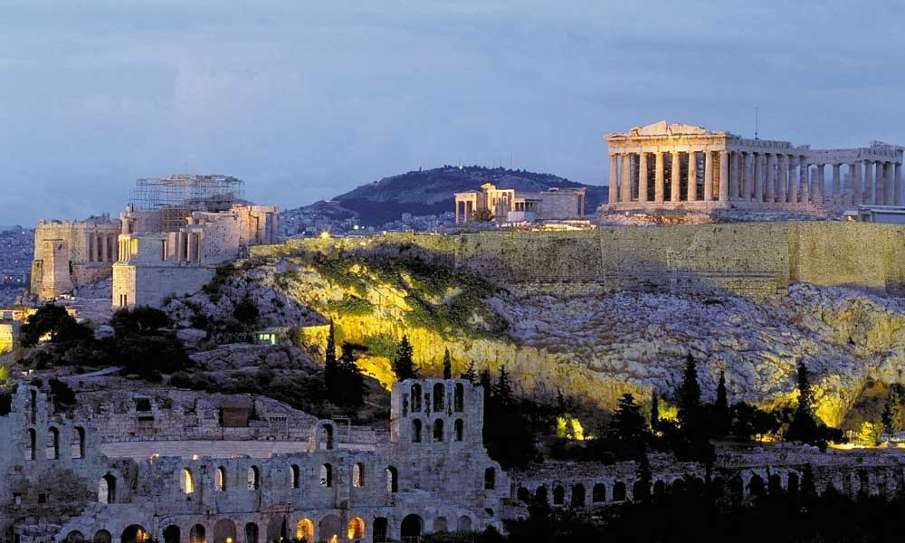 November city break ideas - shows the monuments of Athens at night