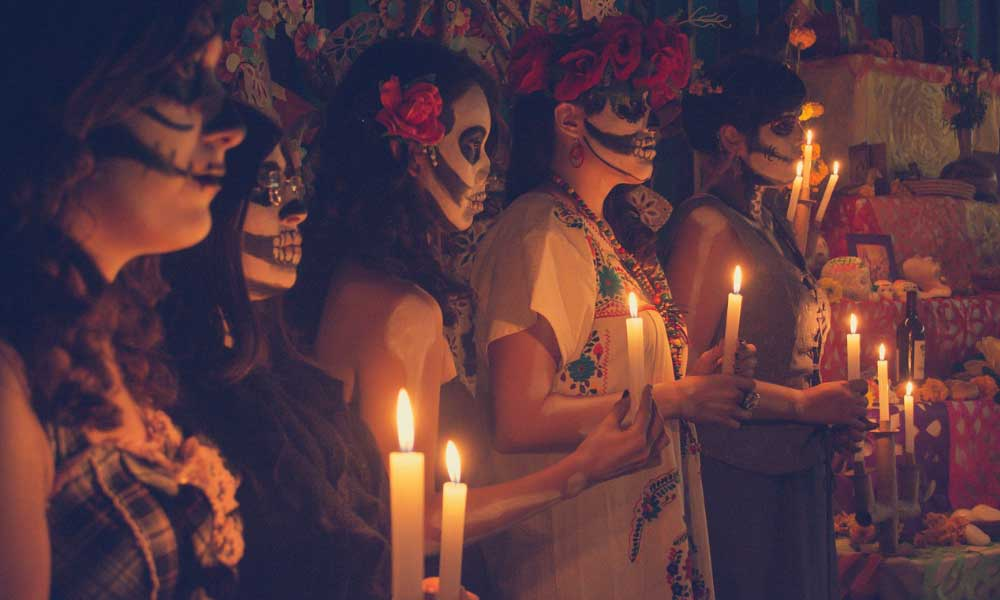 Shows the Day of the Dead celebration in Mexico City