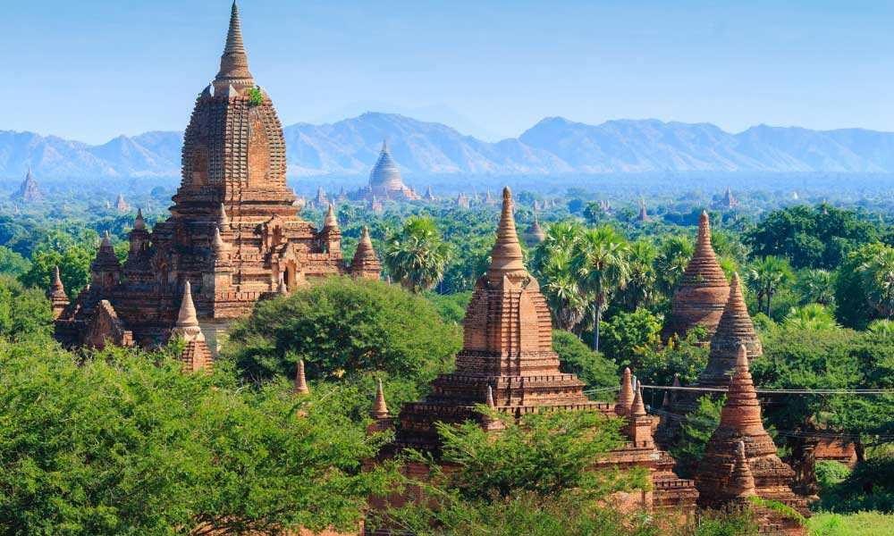 Where to go on holiday in November - Shows a vast valley with temples in Myanmar