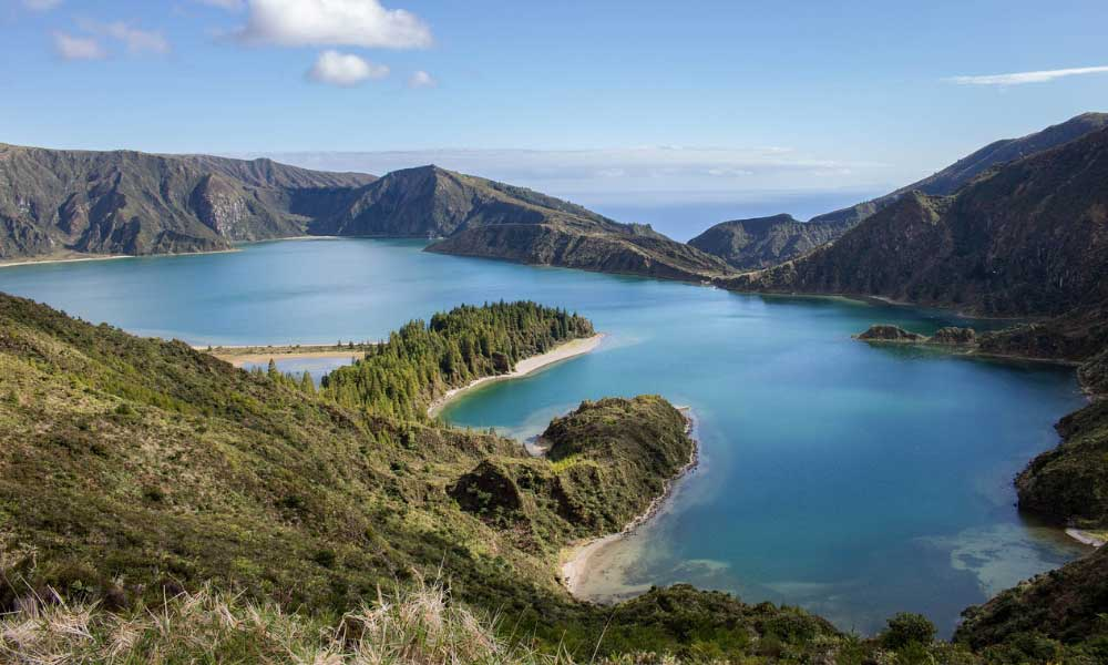 Shows the rich nature and lakes of Azores - 2020 beach holidays