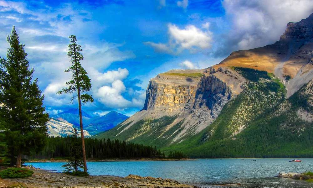 Shows Banff National Park lake in Canada