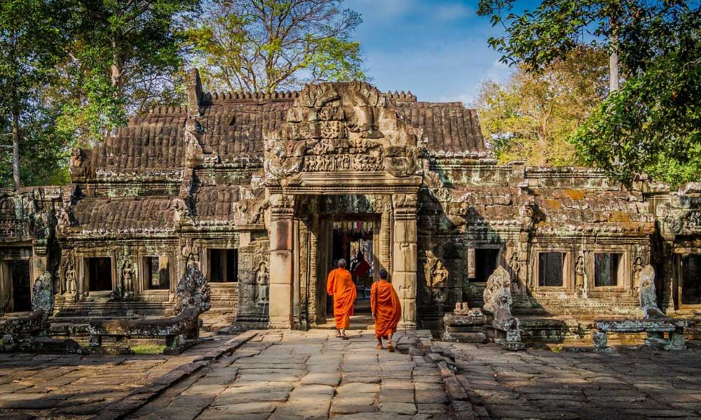 Shows a Buddhist template in Cambodia