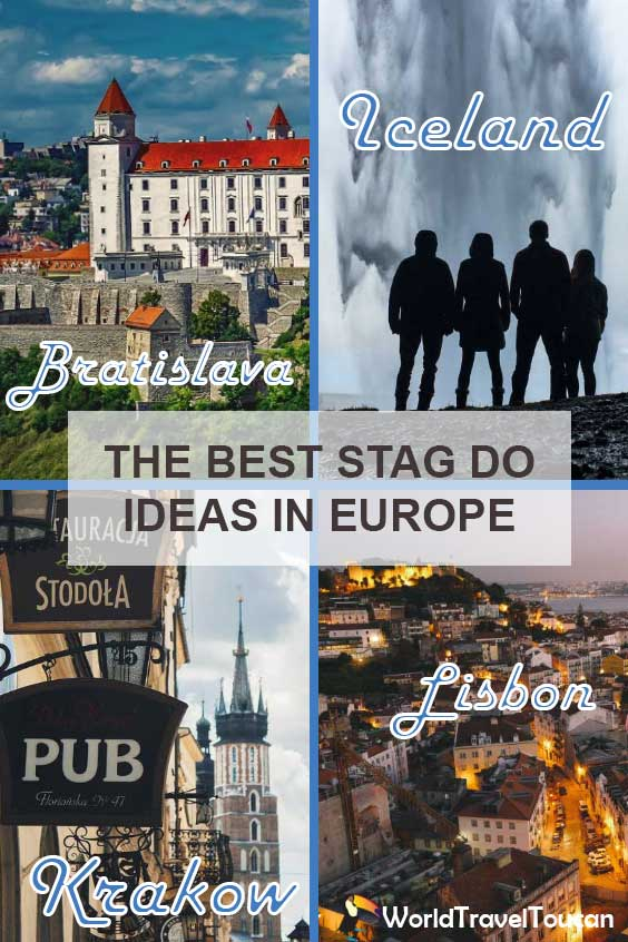 Pinterest image - Stag party ideas - Shows a collage of four destinations