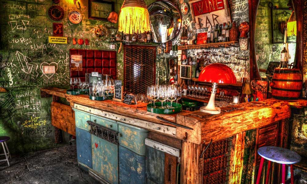Shows a quirky ruin bar in Budapest