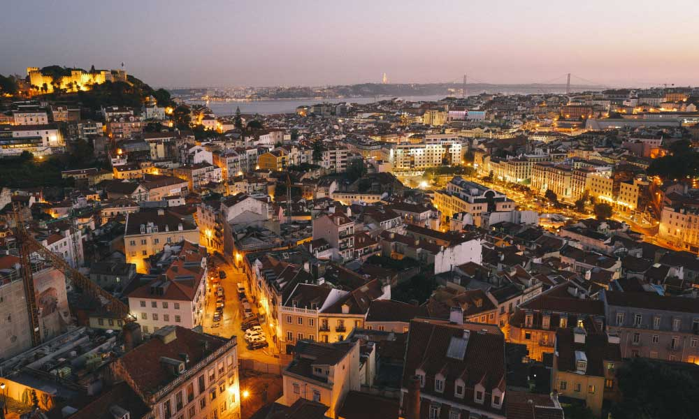 Alternative stag do destinations in Europe - Shows Lisbon city at night