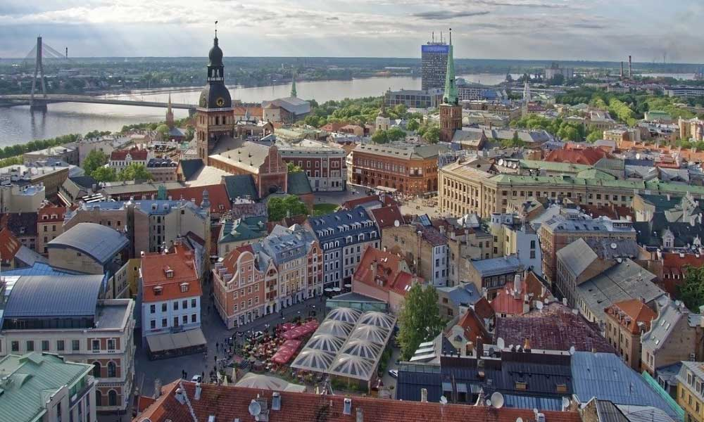 Shows Riga city centre from above - Stag party city breaks