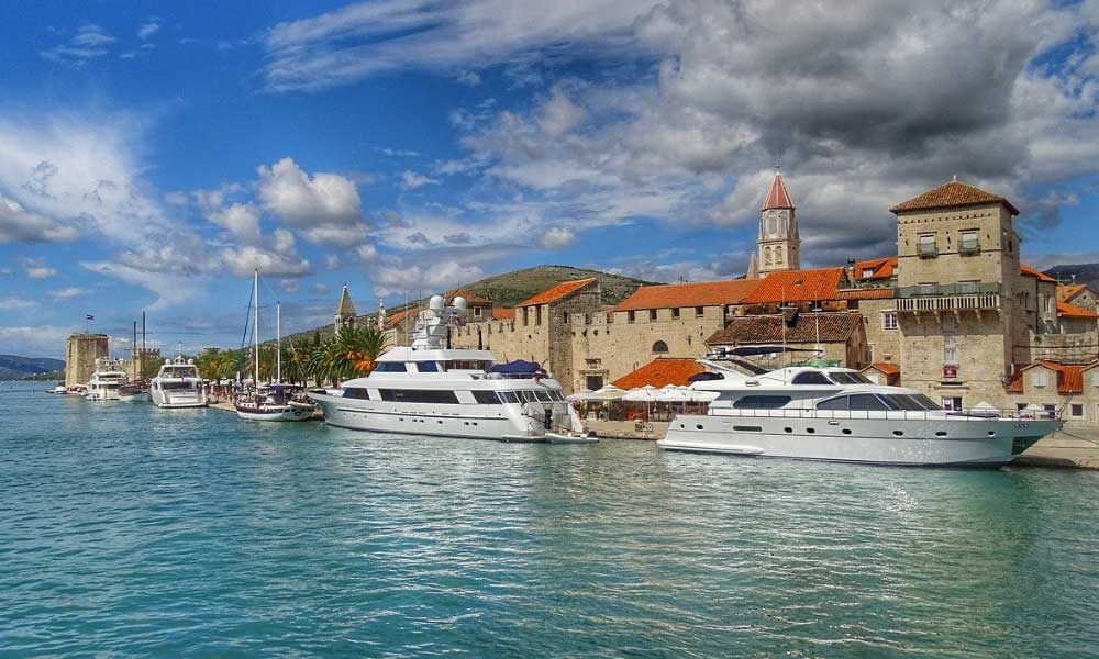 Shows a collection of yachts in Croatia