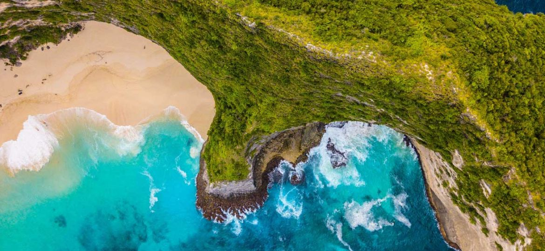 Shows Nusa Penida island from above - Bali 3 week itinerary