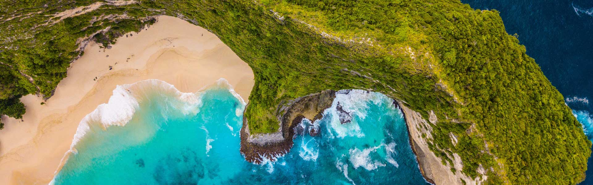 Shows Nusa Penida island from above - Bali 3 week itinerary