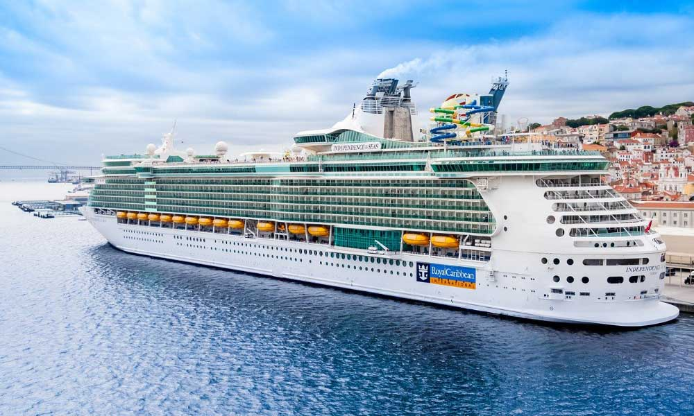 Planning a honeymoon on a budget - Shows a Royal Caribbean cruise ship in port