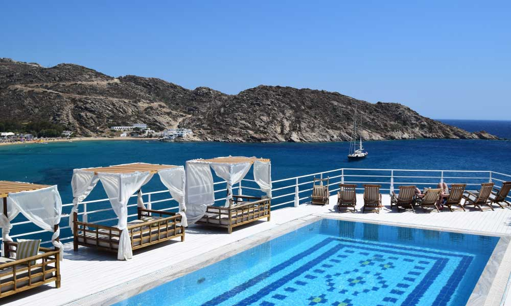 Cheap honeymoon destinations - Shows a swimming pool in Greece
