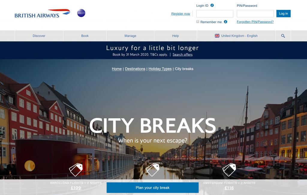 Shows a screenshot of the British Airways website