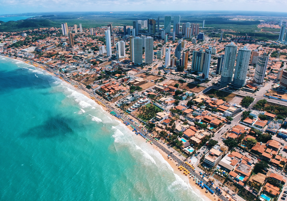 Shows Fortaleza city and beach from above