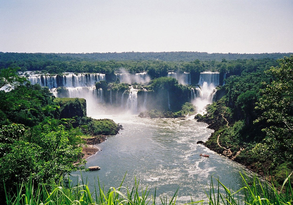 Shows Iguazu Falls in Brazil from afar