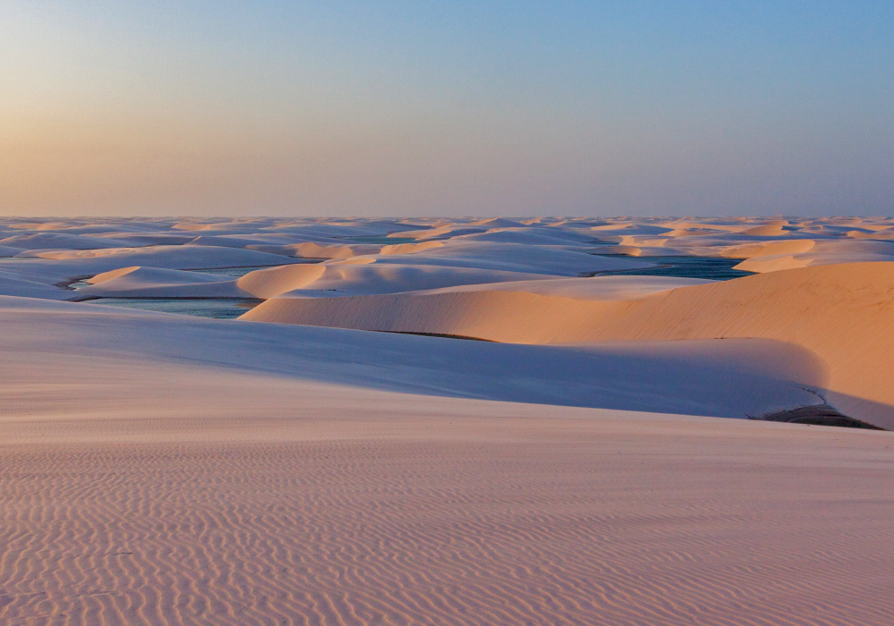 Shows the sand dunes of Lençóis Maranhenses National Park in north Brazil