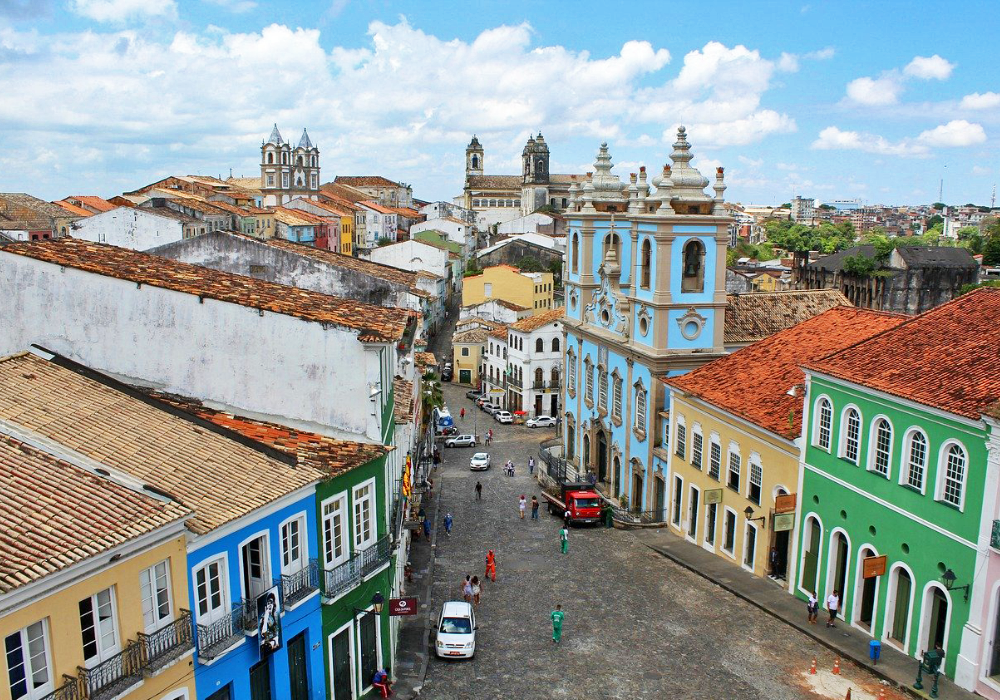 The best places to visit in Brazil - Shows the colourful buildings of Salvador