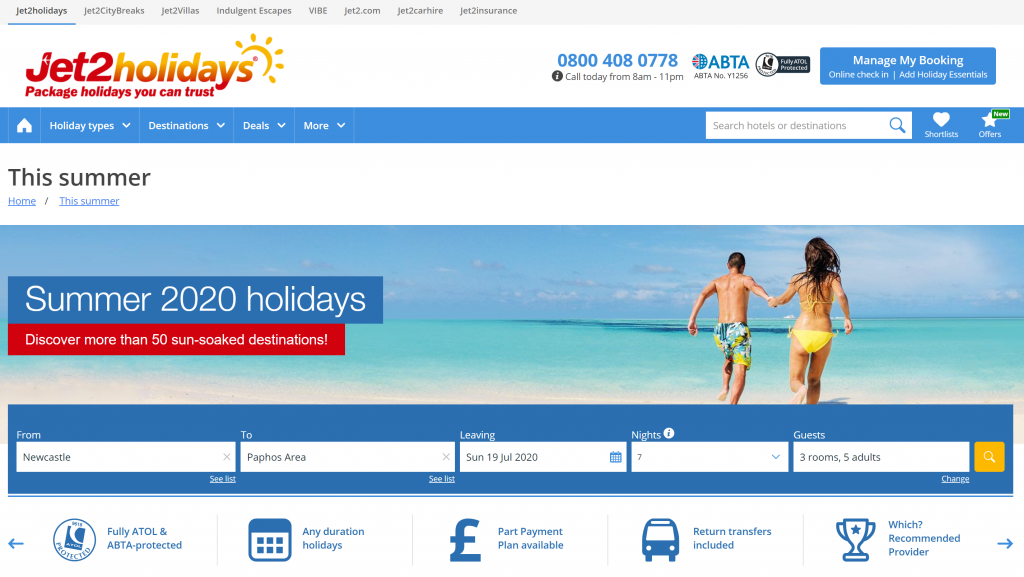 Best sites to book package holidays - Shows a screenshot of Jet2 Holidays site