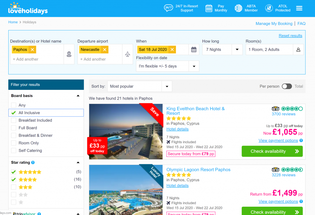 Shows a screenshot of Love Holidays package deals