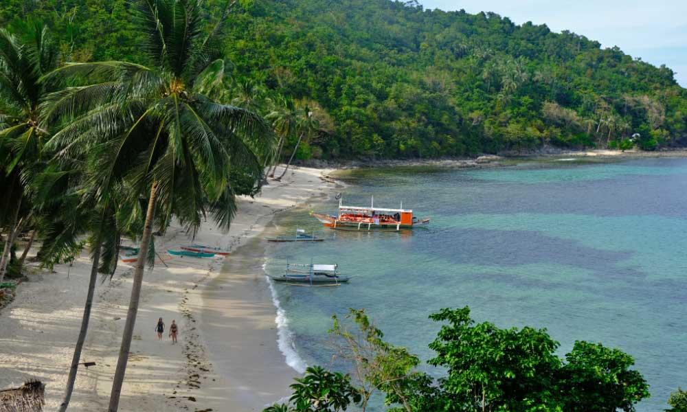 One Life Adventures Philippines tour - Shows an island beach from a viewpoint above