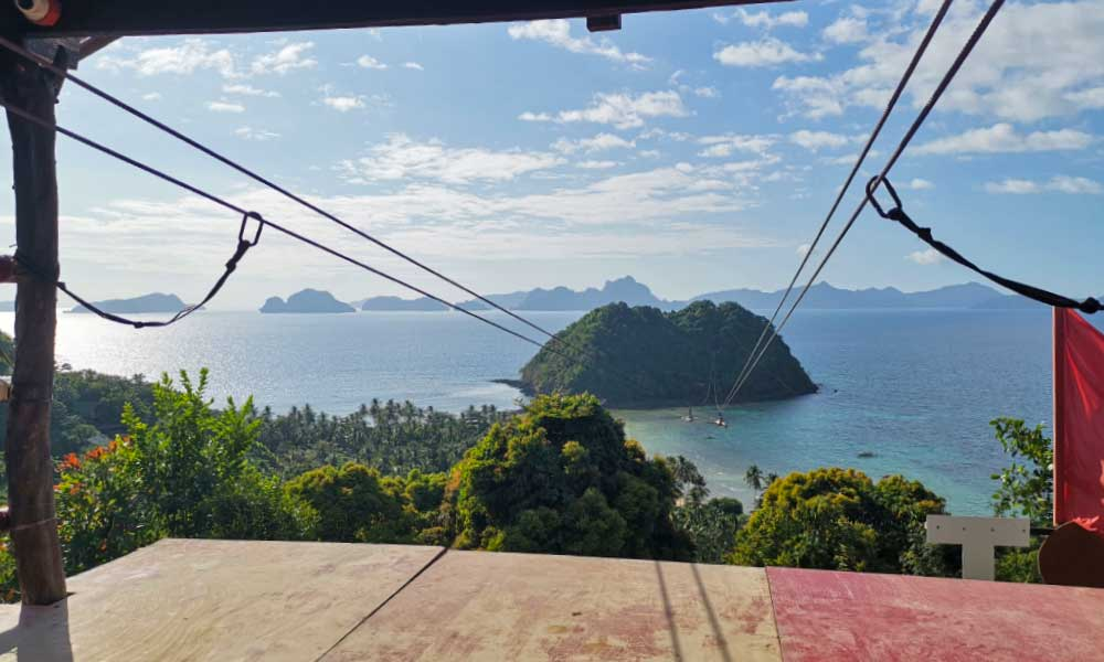 One Life Adventures Philippines tour - Shows the El Nido Corong Corong Beach zipline from above
