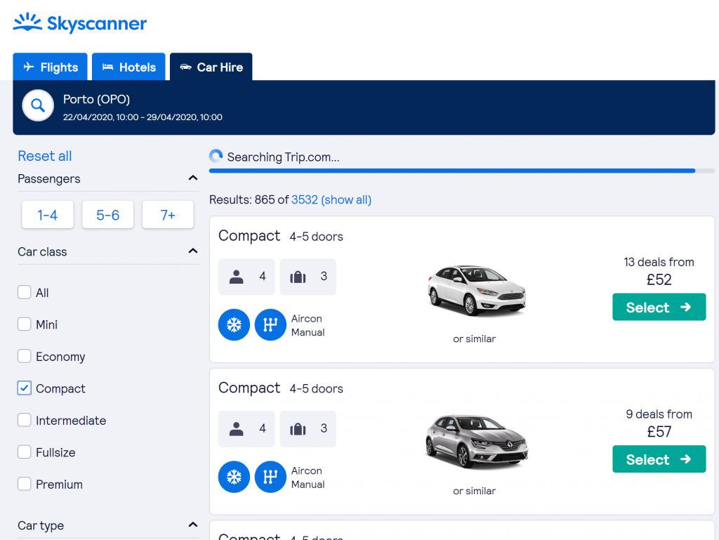 Best sites to book holidays - Shows a screenshot of car hire options