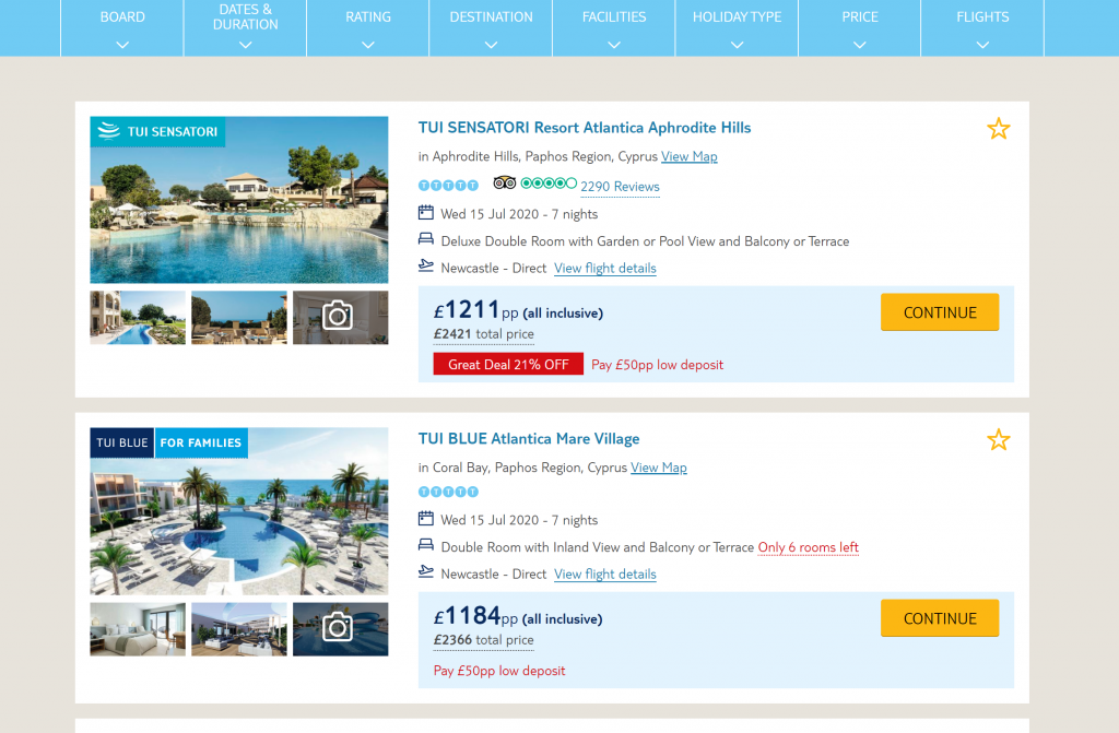 Shows a screenshot of TUI website package holidays