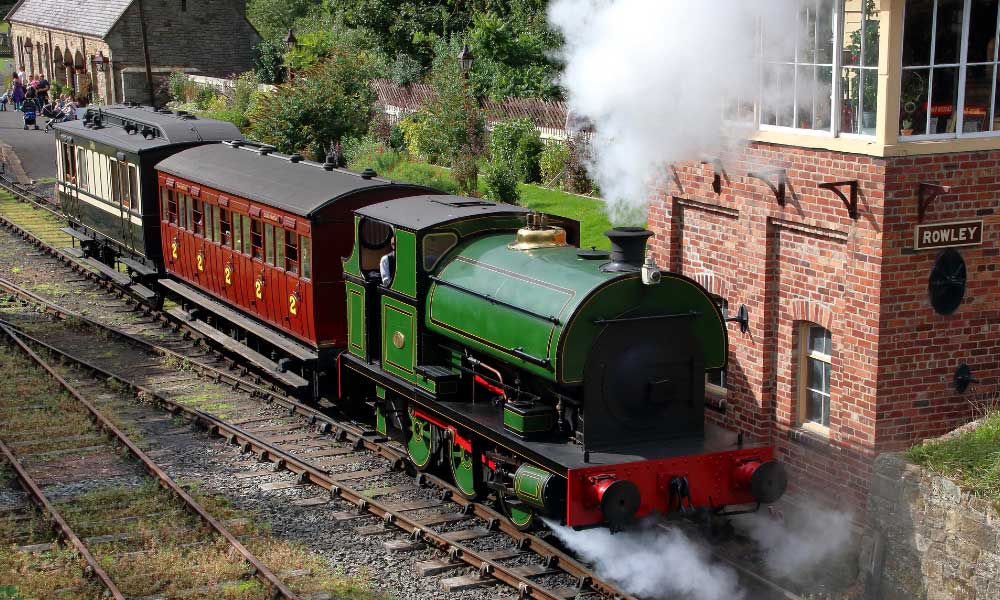 Newcastle day trip ideas - Shows a steam train at Beamish Museum
