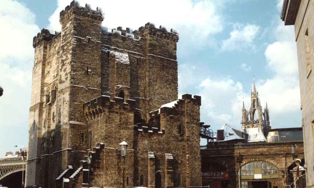 Shows Newcastle Castle during winter