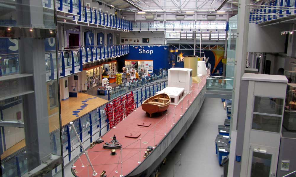 Shows the foyer of Discovery Museum Newcastle