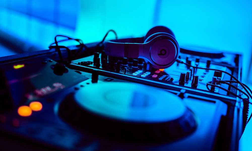 Shows a DJ booth in a nightclub - Newcastle nightlife