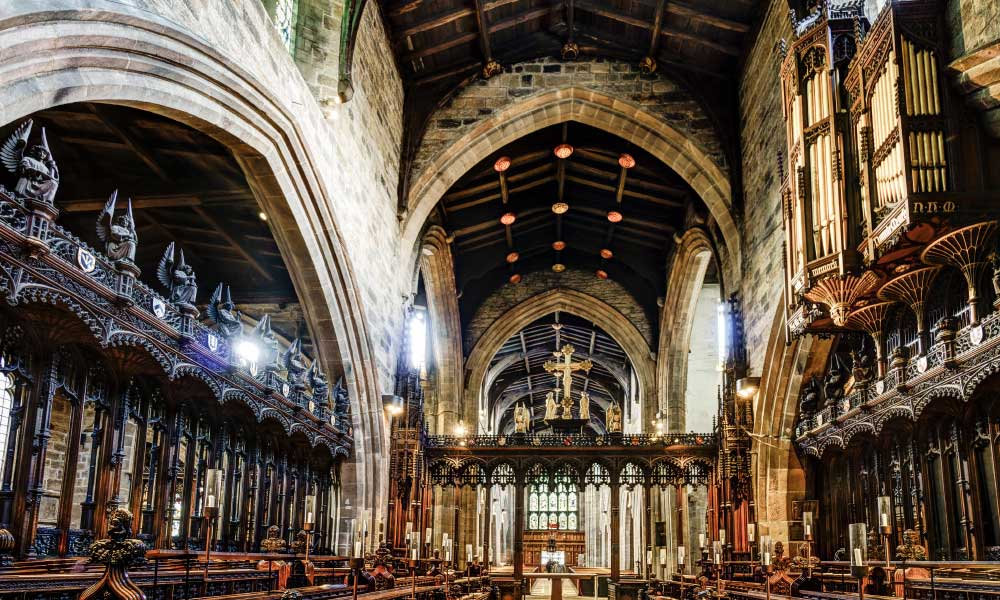 Sightseeing ideas in Newcastle - Shows the inside of St Nicholas Cathedral