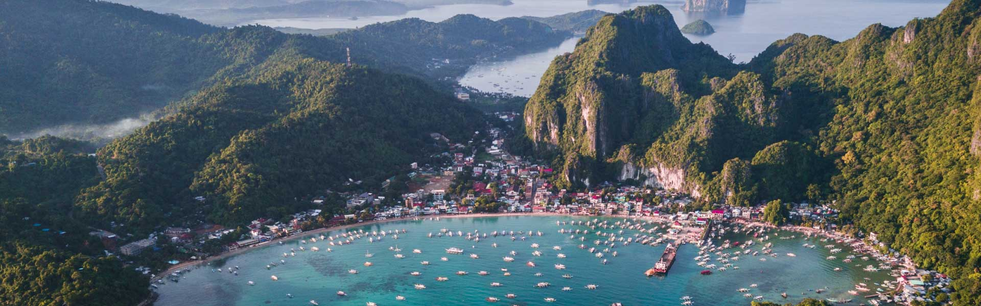 Where to stay in El Nido - Shows El Nido bay from above