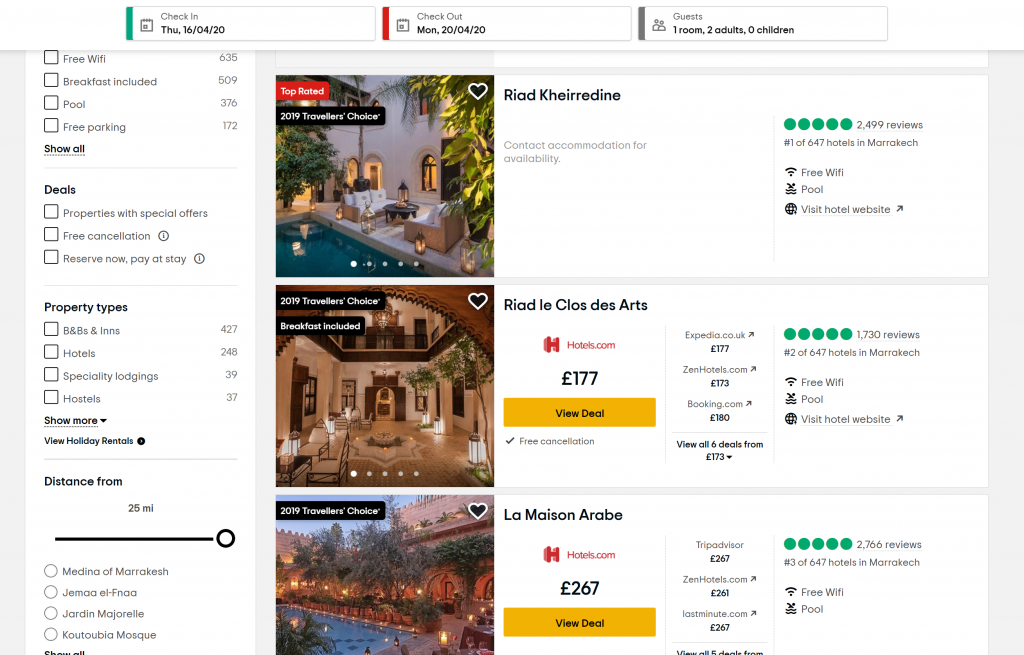 Best sites to book holidays - Shows a list of hotels on Tripadvisor