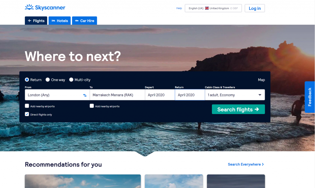 Best sites to book flights - Shows a screenshot of the Skyscanner homepage
