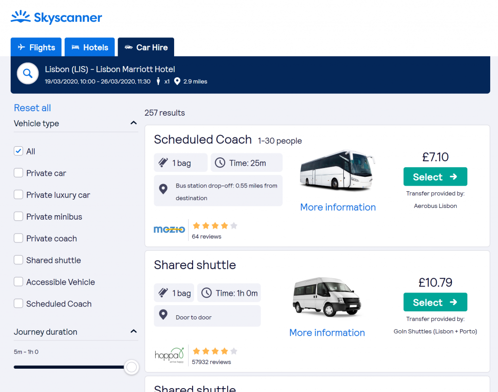 Best sites to book airport transfers - Shows a Skyscanner screenshot